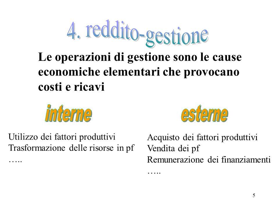 5 Le operazioni di gestione sono le cause economiche elementari che provocano costi e ricavi Utilizzo dei fattori produttivi Trasformazione delle riso