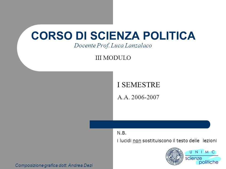 Composizione grafica dott. Andrea Dezi CORSO DI SCIENZA POLITICA Docente Prof. Luca Lanzalaco I SEMESTRE A.A. 2006-2007 N.B. i lucidi non sostituiscon