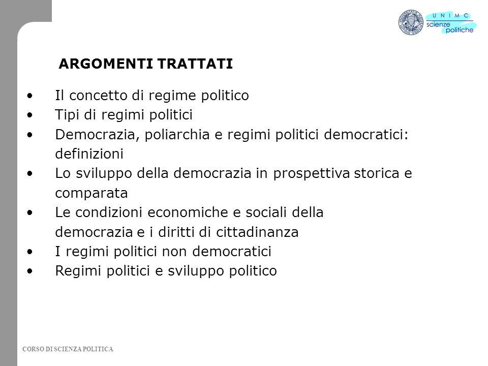 CORSO DI SCIENZA POLITICA Il concetto di regime politico Tipi di regimi politici Democrazia, poliarchia e regimi politici democratici: definizioni Lo