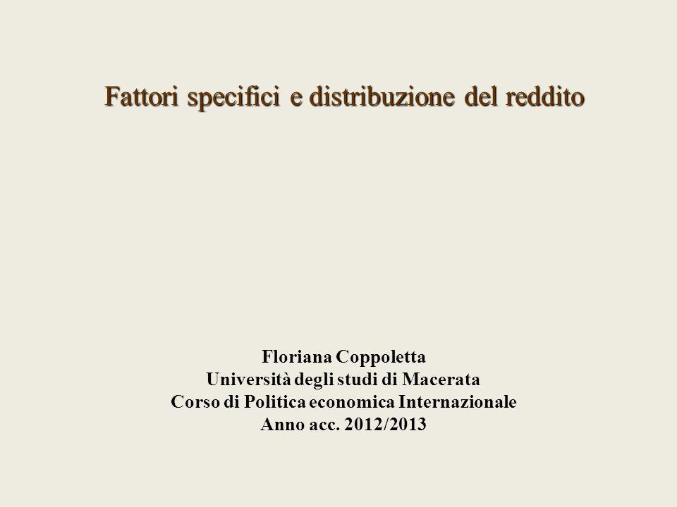 Fattori specifici e distribuzione del reddito Floriana Coppoletta Università degli studi di Macerata Corso di Politica economica Internazionale Anno a