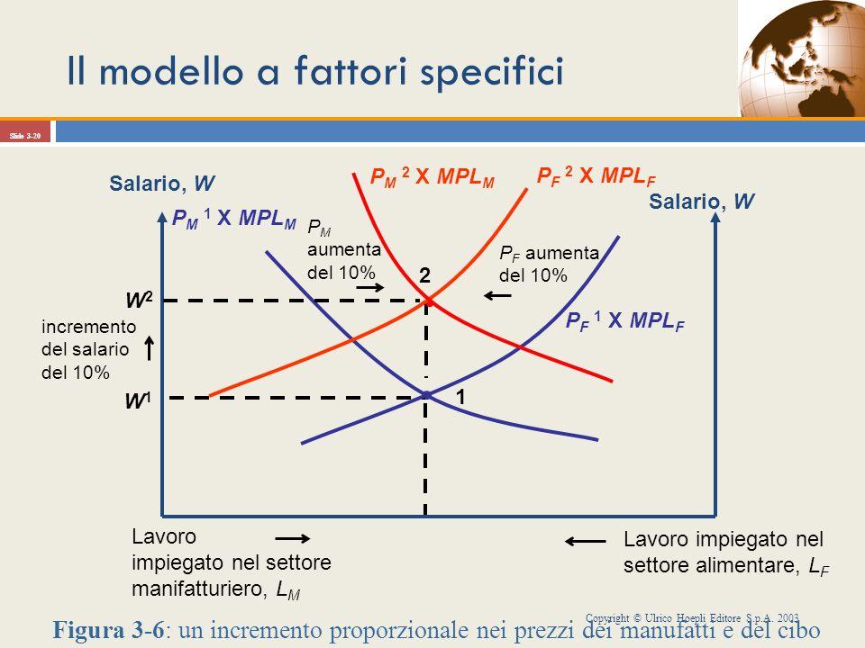 Il modello a fattori specifici Copyright © Ulrico Hoepli Editore S.p.A. 2003 Slide 3-20 W1W1 1 P F aumenta del 10% Salario, W P F 1 X MPL F Lavoro imp