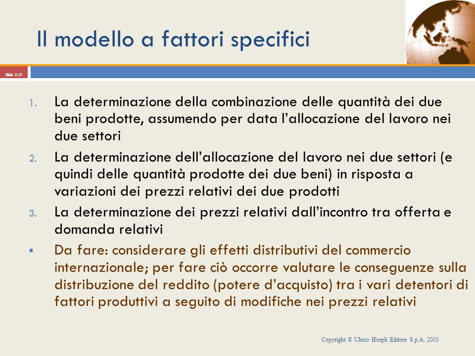 Il modello a fattori specifici Copyright © Ulrico Hoepli Editore S.p.A. 2003 Slide 3-25 1. La determinazione della combinazione delle quantità dei due