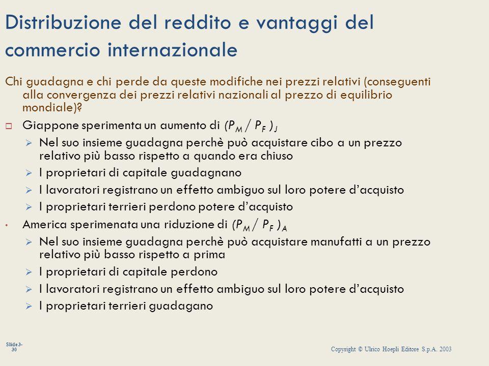 Copyright © Ulrico Hoepli Editore S.p.A. 2003 Slide 3- 30 Distribuzione del reddito e vantaggi del commercio internazionale Chi guadagna e chi perde d