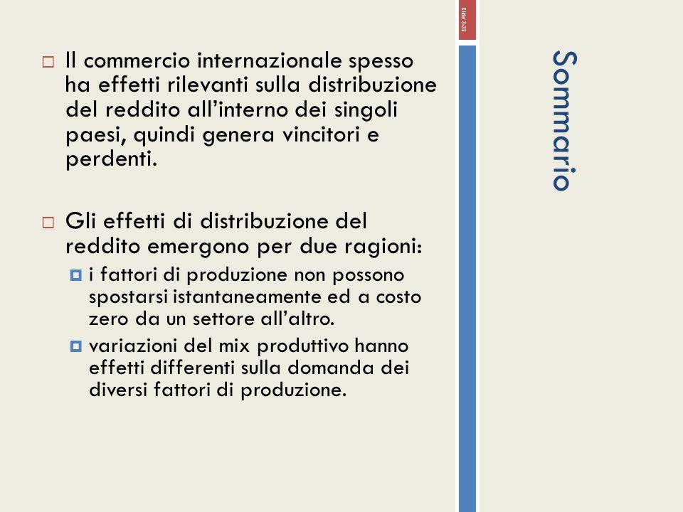 Sommario Il commercio internazionale spesso ha effetti rilevanti sulla distribuzione del reddito allinterno dei singoli paesi, quindi genera vincitori