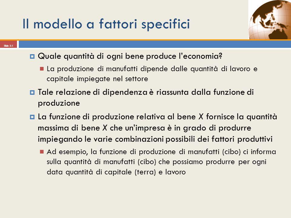 Slide 3-5 Quale quantità di ogni bene produce leconomia? La produzione di manufatti dipende dalle quantità di lavoro e capitale impiegate nel settore