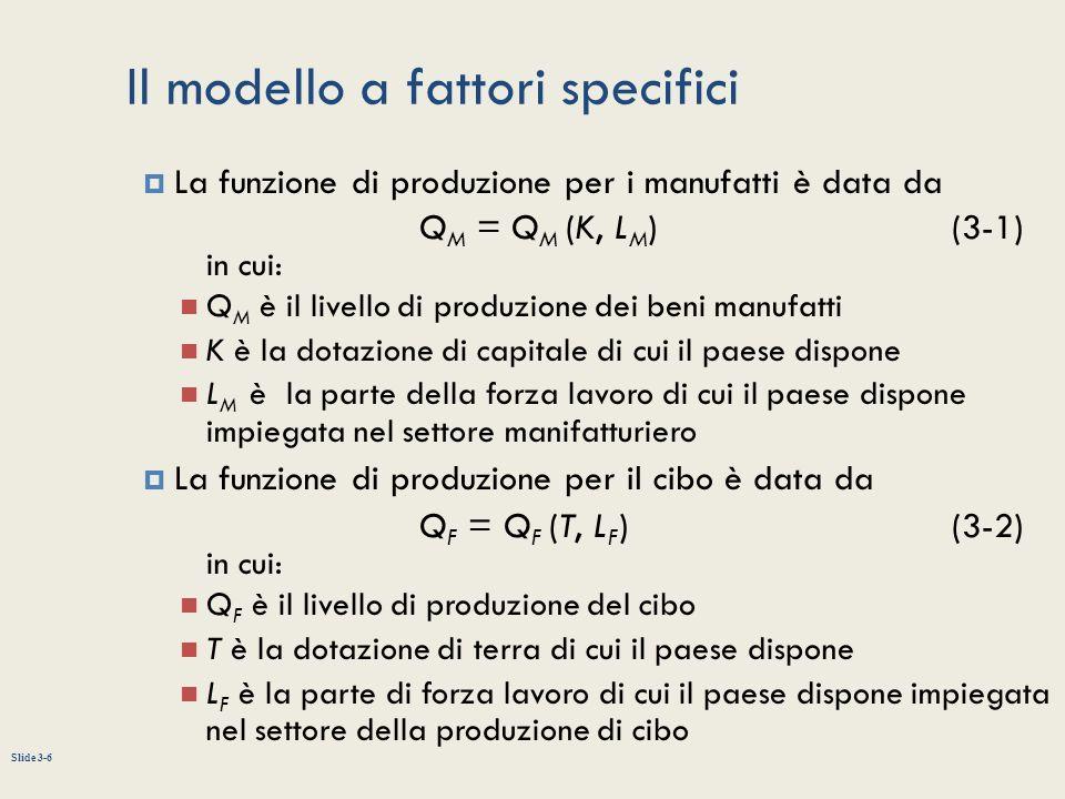 Slide 3-6 Il modello a fattori specifici La funzione di produzione per i manufatti è data da Q M = Q M (K, L M ) (3-1) in cui: Q M è il livello di pro