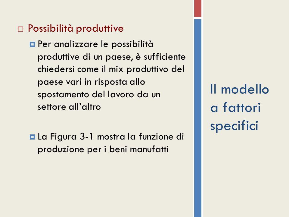 Il modello a fattori specifici Possibilità produttive Per analizzare le possibilità produttive di un paese, è sufficiente chiedersi come il mix produt