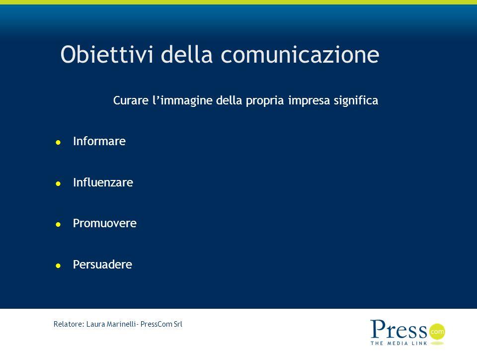 Relatore: Laura Marinelli- PressCom Srl Obiettivi della comunicazione Curare limmagine della propria impresa significa Informare Influenzare Promuovere Persuadere