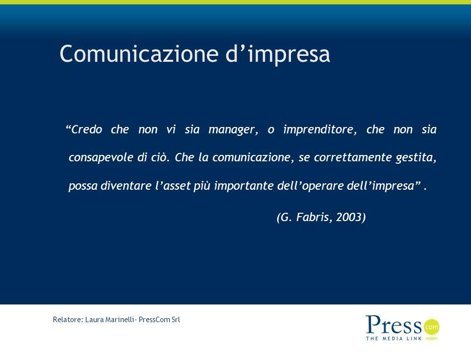 Relatore: Laura Marinelli- PressCom Srl Comunicazione dimpresa Credo che non vi sia manager, o imprenditore, che non sia consapevole di ciò.