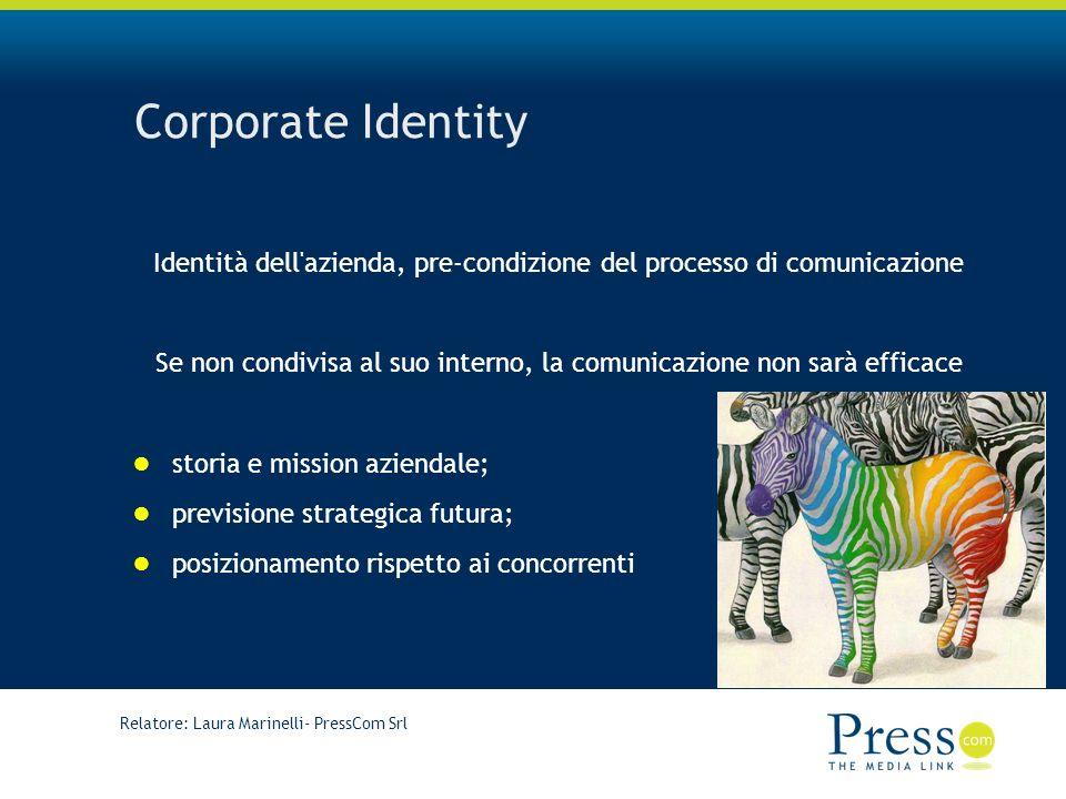 Relatore: Laura Marinelli- PressCom Srl Corporate Identity Identità dell azienda, pre-condizione del processo di comunicazione Se non condivisa al suo interno, la comunicazione non sarà efficace storia e mission aziendale; previsione strategica futura; posizionamento rispetto ai concorrenti