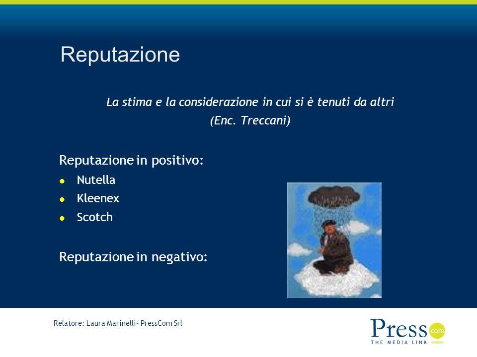 Relatore: Laura Marinelli- PressCom Srl Reputazione La stima e la considerazione in cui si è tenuti da altri (Enc.