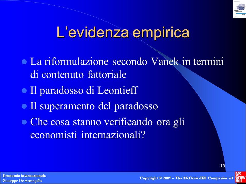 Economia internazionale Giuseppe De Arcangelis Copyright © 2005 – The McGraw-Hill Companies srl 19 Levidenza empirica La riformulazione secondo Vanek