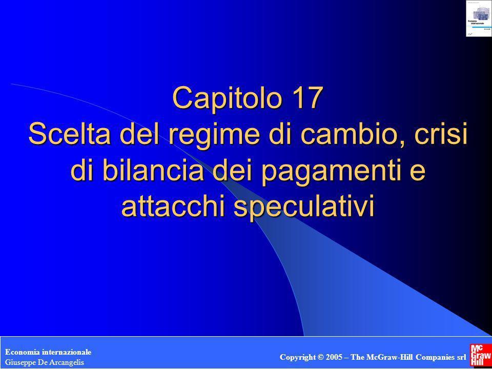 Giuseppe De Arcangelis © 2005 1 Capitolo 17 Scelta del regime di cambio, crisi di bilancia dei pagamenti e attacchi speculativi Economia internazional