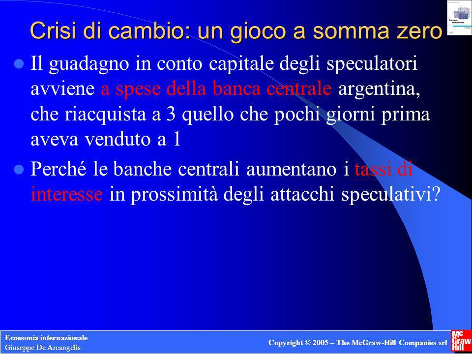 Economia internazionale Giuseppe De Arcangelis Copyright © 2005 – The McGraw-Hill Companies srl Crisi di cambio: un gioco a somma zero Il guadagno in