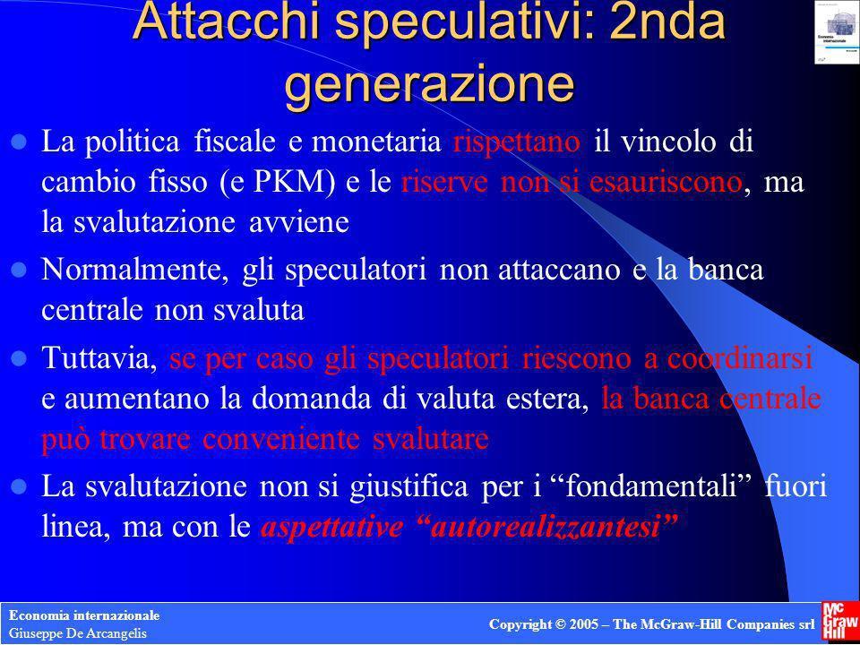 Economia internazionale Giuseppe De Arcangelis Copyright © 2005 – The McGraw-Hill Companies srl Attacchi speculativi: 2nda generazione La politica fis