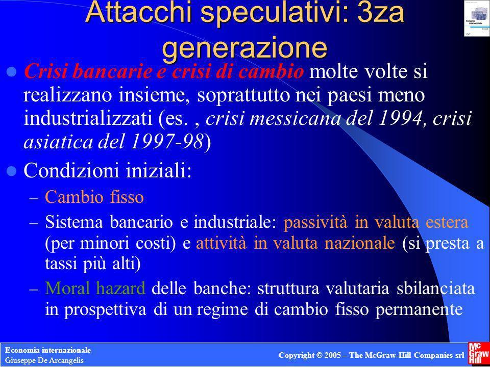 Economia internazionale Giuseppe De Arcangelis Copyright © 2005 – The McGraw-Hill Companies srl Attacchi speculativi: 3za generazione Crisi bancarie e