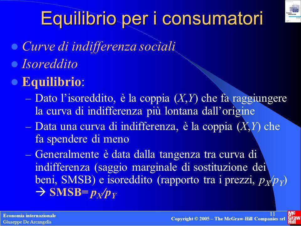 Economia internazionale Giuseppe De Arcangelis Copyright © 2005 – The McGraw-Hill Companies srl 11 Equilibrio per i consumatori Curve di indifferenza