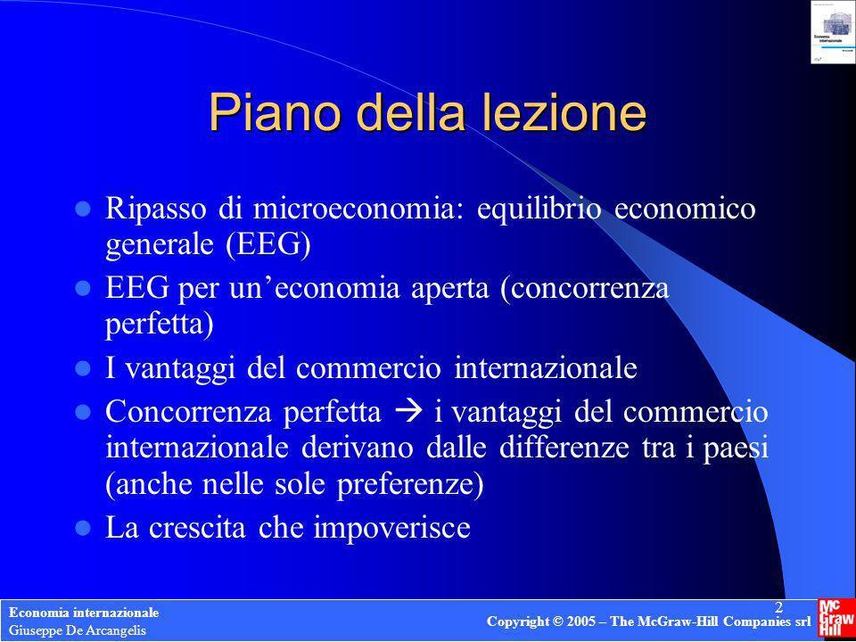 Copyright © 2005 – The McGraw-Hill Companies srl 2 Piano della lezione Ripasso di microeconomia: equilibrio economico generale (EEG) EEG per uneconomi