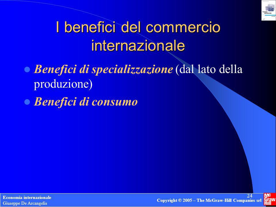 Economia internazionale Giuseppe De Arcangelis Copyright © 2005 – The McGraw-Hill Companies srl 24 I benefici del commercio internazionale Benefici di