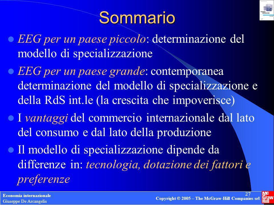Economia internazionale Giuseppe De Arcangelis Copyright © 2005 – The McGraw-Hill Companies srl 27 Sommario EEG per un paese piccolo: determinazione d