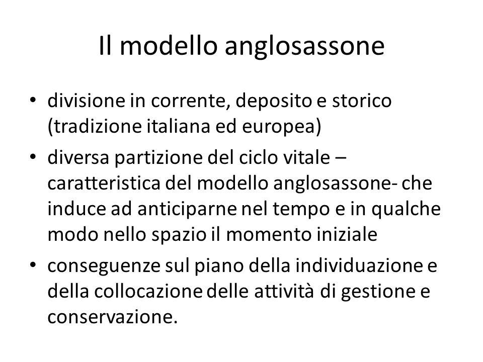 Il modello anglosassone divisione in corrente, deposito e storico (tradizione italiana ed europea) diversa partizione del ciclo vitale – caratteristic