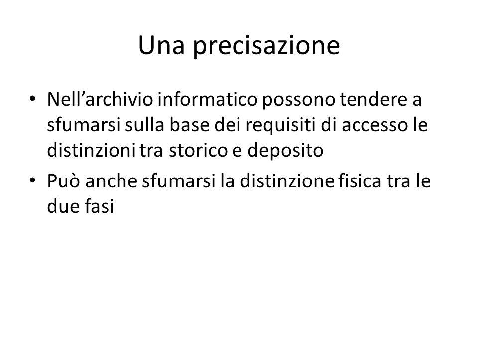 Una precisazione Nellarchivio informatico possono tendere a sfumarsi sulla base dei requisiti di accesso le distinzioni tra storico e deposito Può anc
