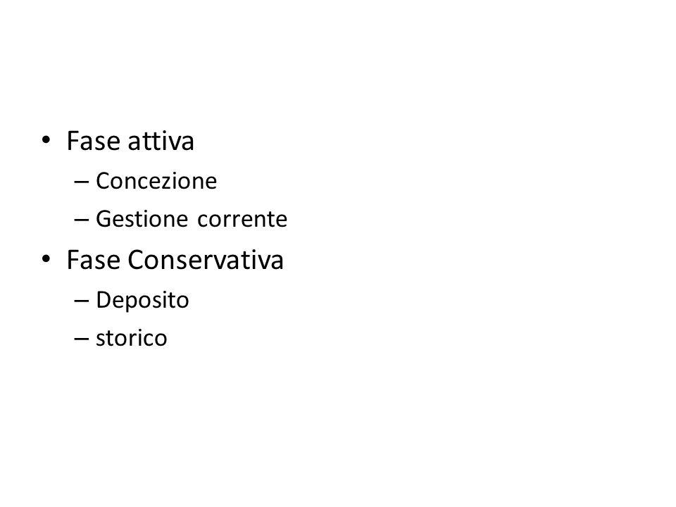 Fase attiva – Concezione – Gestione corrente Fase Conservativa – Deposito – storico