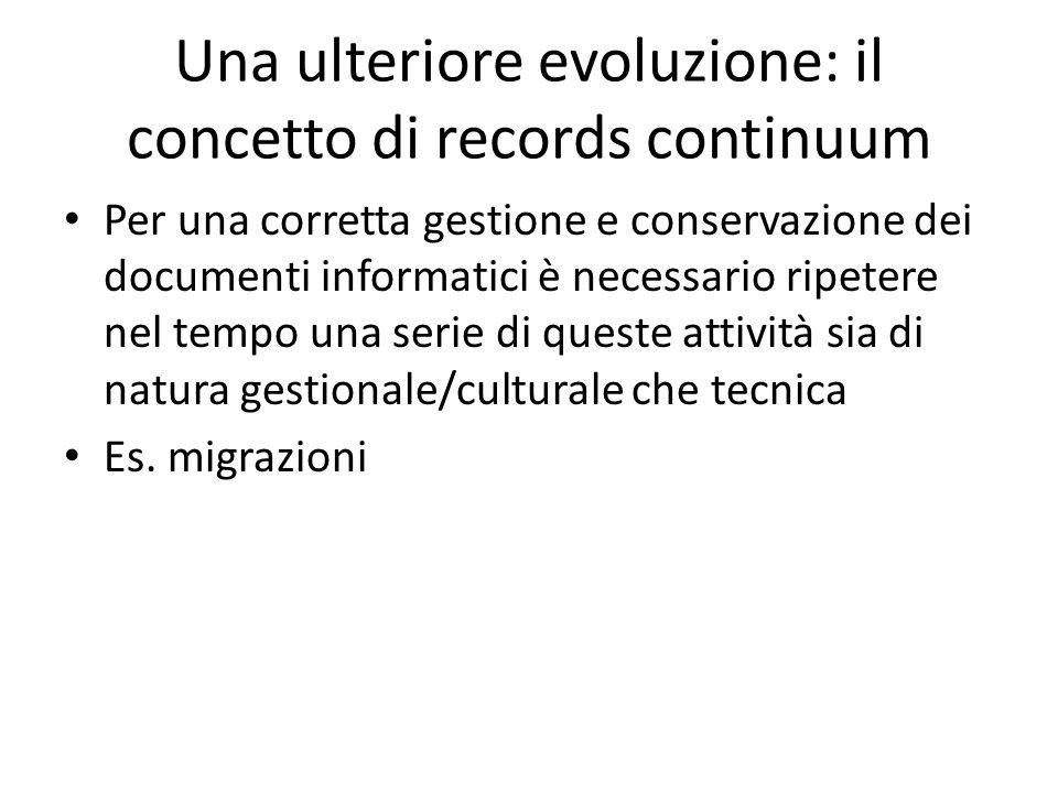 Una ulteriore evoluzione: il concetto di records continuum Per una corretta gestione e conservazione dei documenti informatici è necessario ripetere n