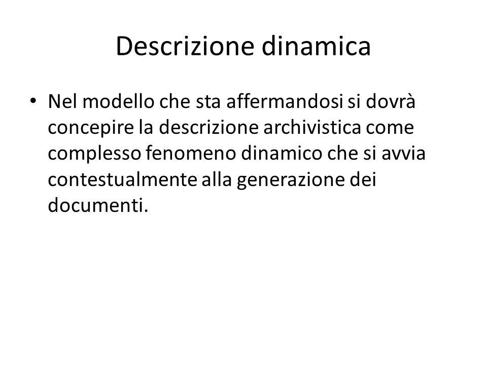 Descrizione dinamica Nel modello che sta affermandosi si dovrà concepire la descrizione archivistica come complesso fenomeno dinamico che si avvia con