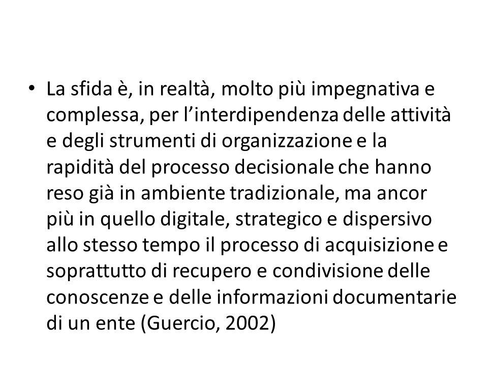 La sfida è, in realtà, molto più impegnativa e complessa, per linterdipendenza delle attività e degli strumenti di organizzazione e la rapidità del pr
