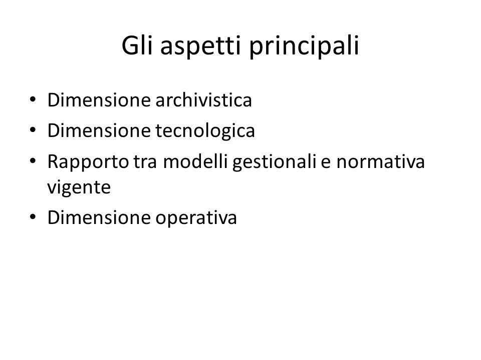 Gli aspetti principali Dimensione archivistica Dimensione tecnologica Rapporto tra modelli gestionali e normativa vigente Dimensione operativa