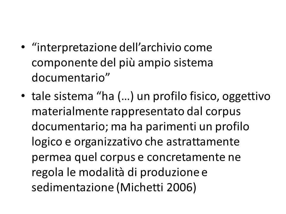 interpretazione dellarchivio come componente del più ampio sistema documentario tale sistema ha (…) un profilo fisico, oggettivo materialmente rappres