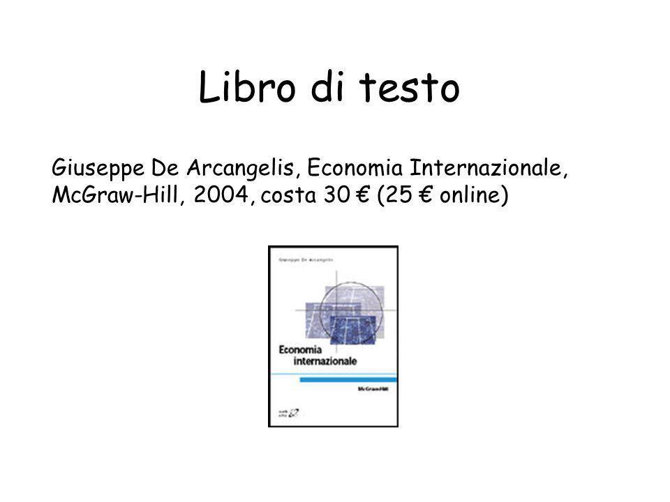 Libro di testo Giuseppe De Arcangelis, Economia Internazionale, McGraw-Hill, 2004, costa 30 (25 online)