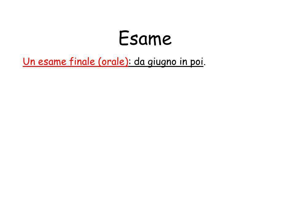 Esame Un esame finale (orale): da giugno in poi.