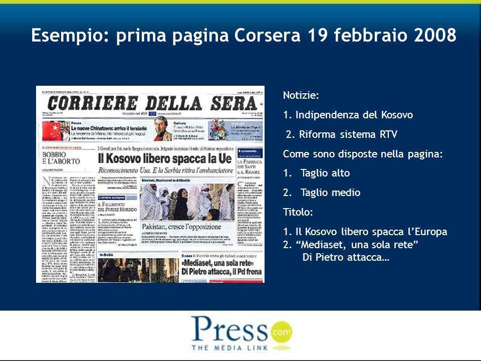 Esempio: prima pagina Corsera 19 febbraio 2008 Notizie: 1.