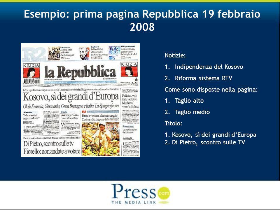 Esempio: prima pagina Repubblica 19 febbraio 2008 Notizie: 1.Indipendenza del Kosovo 2.Riforma sistema RTV Come sono disposte nella pagina: 1.Taglio alto 2.Taglio medio Titolo: 1.