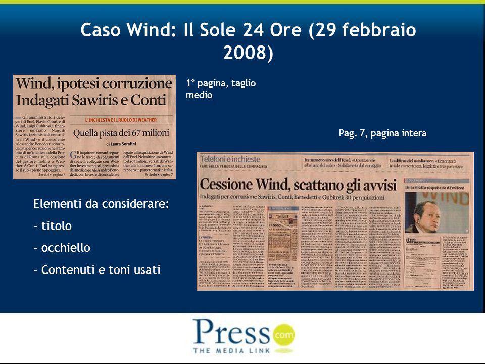 Caso Wind: Il Sole 24 Ore (29 febbraio 2008) 1° pagina, taglio medio Pag.