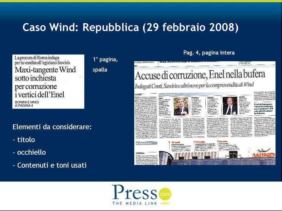 Caso Wind: Repubblica (29 febbraio 2008) 1° pagina, spalla Pag.