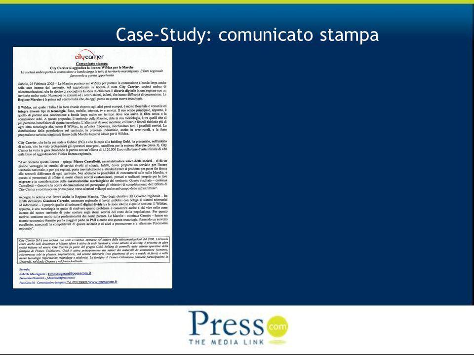 Case-Study: comunicato stampa