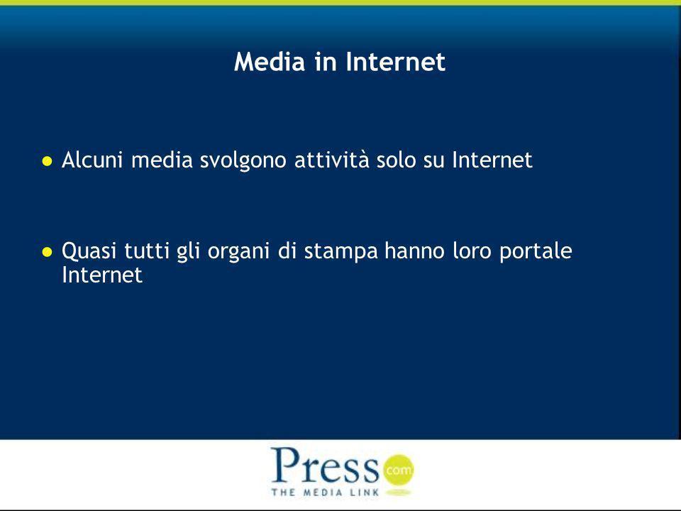 Media in Internet Alcuni media svolgono attività solo su Internet Quasi tutti gli organi di stampa hanno loro portale Internet