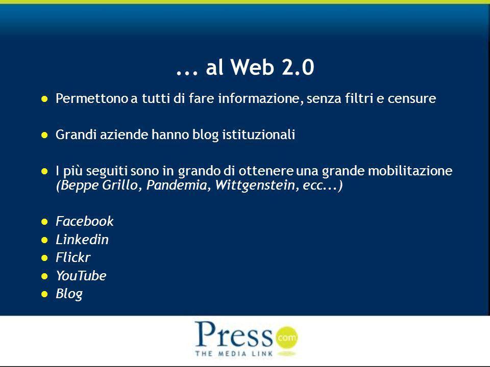 ... al Web 2.0 Permettono a tutti di fare informazione, senza filtri e censure Grandi aziende hanno blog istituzionali I più seguiti sono in grando di