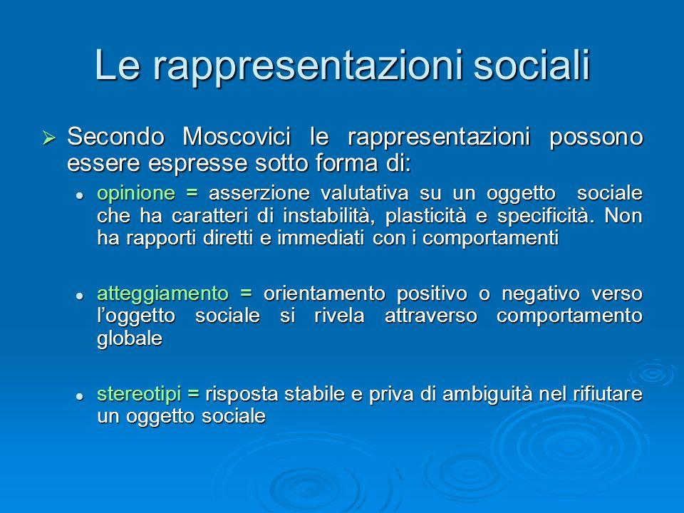 Le rappresentazioni sociali Secondo Moscovici le rappresentazioni possono essere espresse sotto forma di: Secondo Moscovici le rappresentazioni posson
