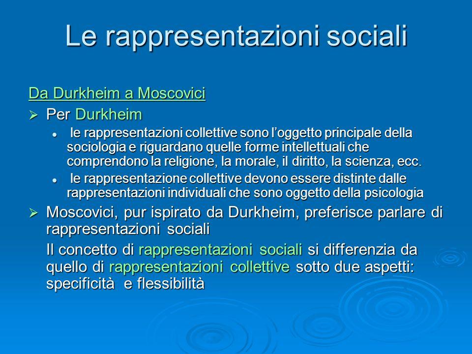 Le rappresentazioni sociali Da Durkheim a Moscovici Per Durkheim Per Durkheim le rappresentazioni collettive sono loggetto principale della sociologia