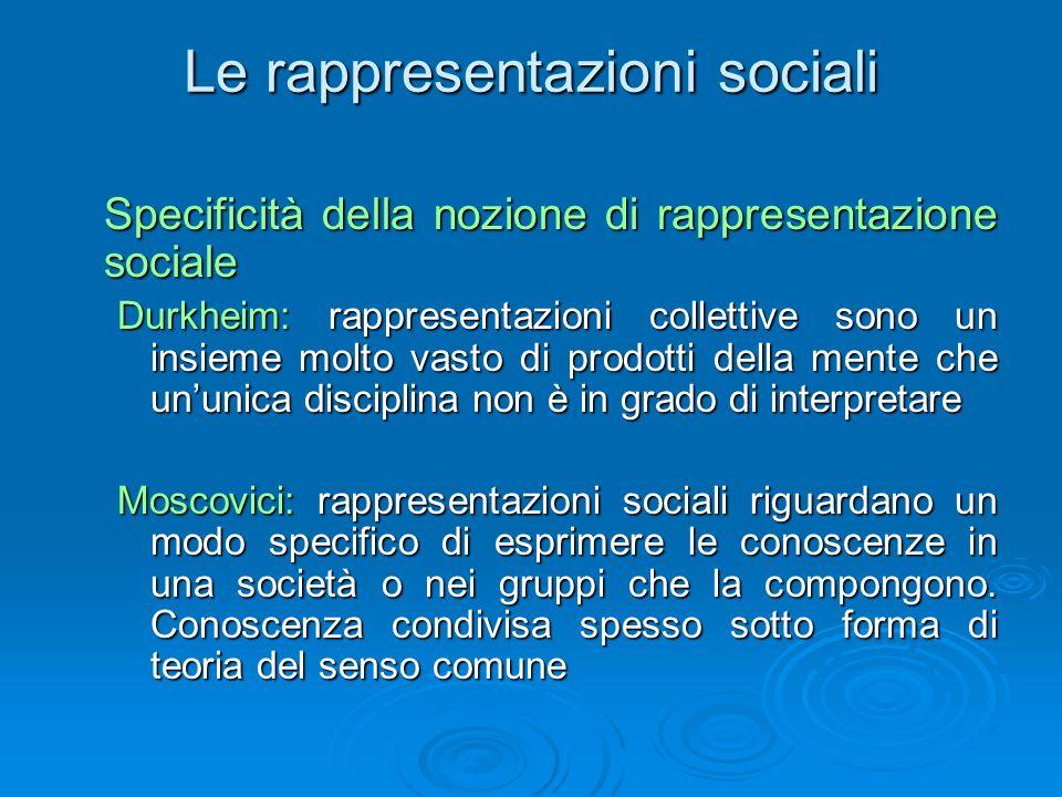 Le rappresentazioni sociali Specificità della nozione di rappresentazione sociale Durkheim: rappresentazioni collettive sono un insieme molto vasto di