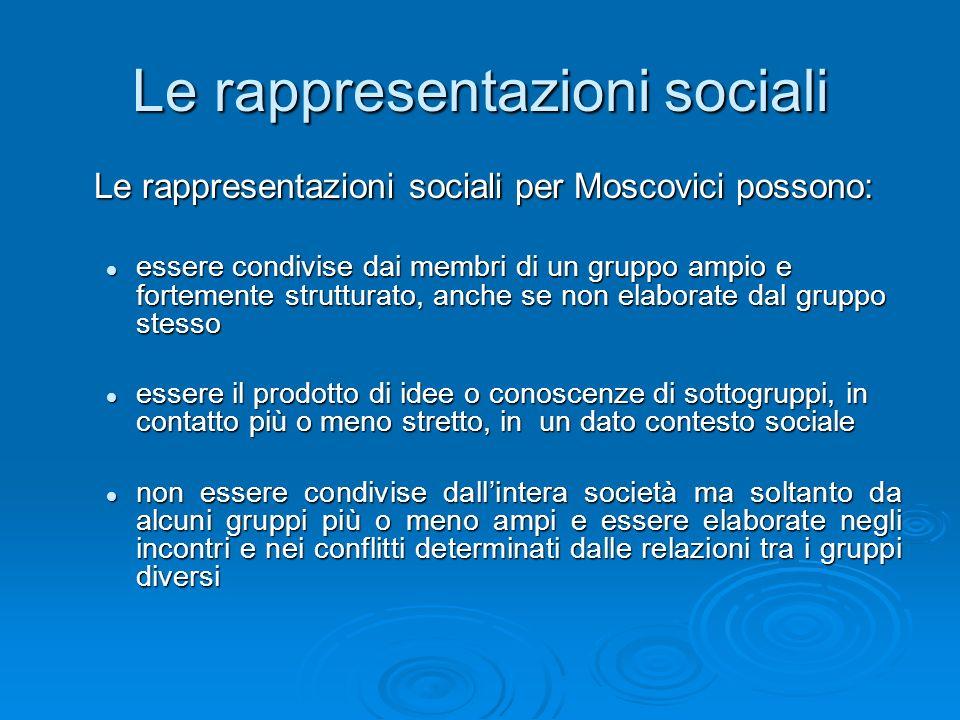 Le rappresentazioni sociali Le rappresentazioni sociali per Moscovici possono: essere condivise dai membri di un gruppo ampio e fortemente strutturato