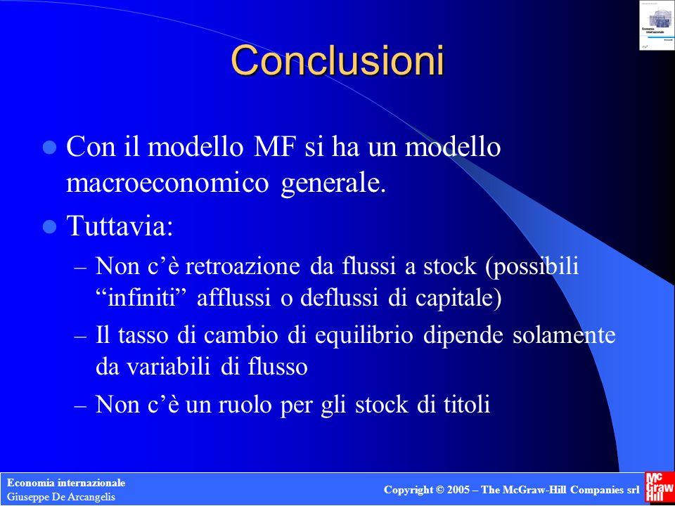 Economia internazionale Giuseppe De Arcangelis Copyright © 2005 – The McGraw-Hill Companies srl Conclusioni Con il modello MF si ha un modello macroec