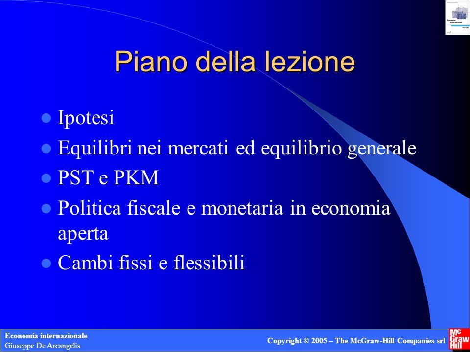 Economia internazionale Giuseppe De Arcangelis Copyright © 2005 – The McGraw-Hill Companies srl Mercato dei cambi: ipotesi di comportamento PFNE pr = H(i,i*,App a ) = k [i+ App a -i*] Equilibrio nella BDP: La differenza tra i rendimenti dei titoli determina i+ App a -i* = (1/k) [ RU – NX] Con PKM k e deve valere PSI
