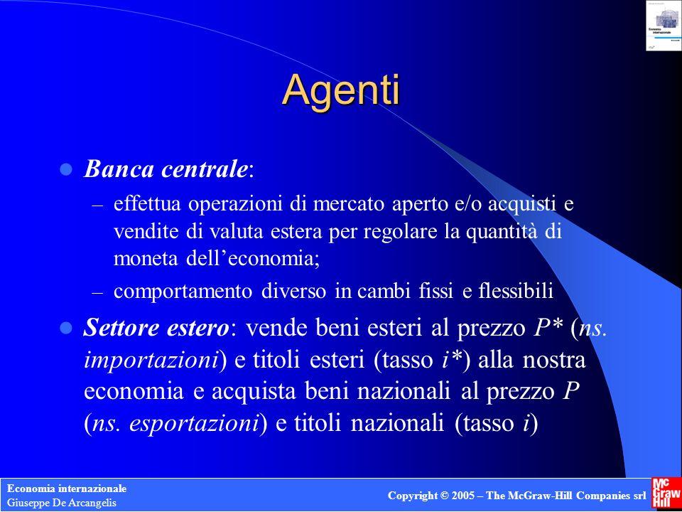 Economia internazionale Giuseppe De Arcangelis Copyright © 2005 – The McGraw-Hill Companies srl Agenti Banca centrale: – effettua operazioni di mercat
