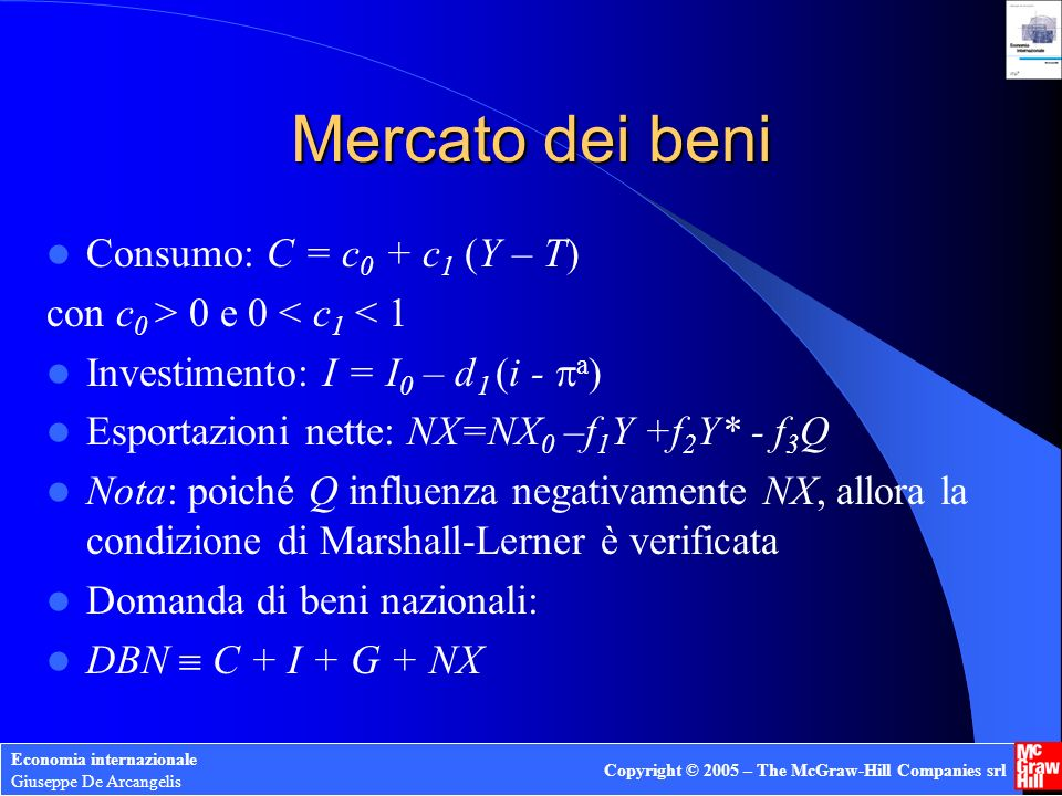 Economia internazionale Giuseppe De Arcangelis Copyright © 2005 – The McGraw-Hill Companies srl Mercato dei beni Consumo: C = c 0 + c 1 (Y – T) con c