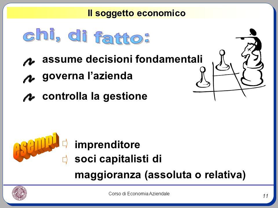 11 Corso di Economia Aziendale Il soggetto economico assume decisioni fondamentali governa lazienda controlla la gestione imprenditore soci capitalist
